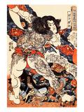 Roshi Ensei Lifting a Heavy Beam Giclee Print by Kuniyoshi Utagawa