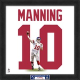 Limited Edition: Eli Manning, Giants photographic representation of the player's jersey Framed Memorabilia