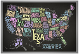United States of America Stylized Text Map (Black) Posters