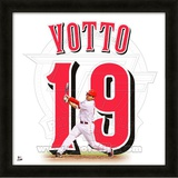 Joey Votto, Reds representation of the player's jersey Framed Memorabilia