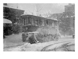 New York Trolley Car Makes its Way During the Blizzard of 1922 Premium Giclee Print
