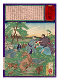 Ukiyo-E Newspaper: Racoons Saves a Weasel from a Vicious Dog Giclee Print by Yoshitoshi Tsukioka