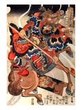 Happinata Koju on a Rearing Horse Giclee Print by Kuniyoshi Utagawa