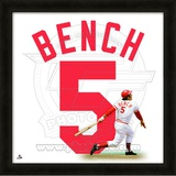 Johnny Bench, Reds representation of the player's jersey Framed Memorabilia