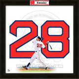 Adrian Gonzalez, Red Sox representation of the player's jersey Framed Memorabilia