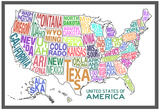 United States of America Stylized Text Map Colorful Plakat