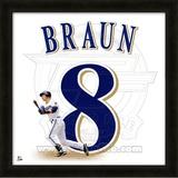 Ryan Braun, Brewers representation of the player's jersey Framed Memorabilia