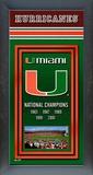 Miami Hurricanes Framed Championship Banner Framed Memorabilia