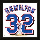 Josh Hamilton, Rangers representation of the player's jersey Framed Memorabilia