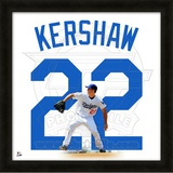Clayton Kershaw, Dodgers representation of the player's jersey Framed Memorabilia