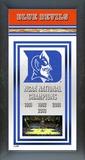 Duke Blue Devils Framed Championship Banner Framed Memorabilia