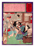 Ukiyo-E Newspaper: a Noodle Shop Wife Throw a Boiling Pot to Her Husband Giclee Print by Yoshitoshi Tsukioka