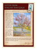 Letter from Vincent: Pink Peach Tree in Blossom Impressão giclée por Vincent van Gogh