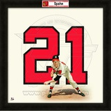 Warren Spahn, Braves representation of the player&#39;s jersey Framed Memorabilia