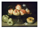 Still Life Peaches Apples and Flowers Posters by Fede Gallzia