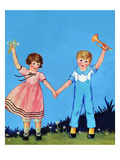 Little Boy Blue and Bo Peep Prints by Queen Holden