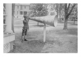 Soldier Plays His Bugle into a Huge Megaphone at Fort Totten, Bayside Queens New York Prints