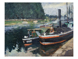 Barges at Pontoise Poster by Camille Pissarro