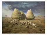 Haystacks; Autumn 1874 Foto van Jean-François Millet