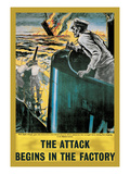 The Attack Begins in the Factory Posters by Roy Nockolds