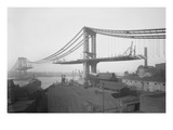 Manhattan Suspension Bridge under Construction as Viewed from Brooklyn Poster
