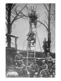 German Unit of Field Observers on Ladders and with Binoculars Poster