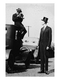 Photographer Mounts Himself on Roof of a Car to Shoot a Pictures of Exceedingly Tall Men in Top Hat Poster