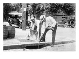 Agents Pouring Liquor Down a Sewer on the Street Prints
