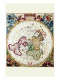 Polar Projection Map of the World Prints by Cornelis Dankertz