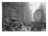 Wagons Trundle Along Manhattan Streets Past a Ymca Clock Sign Posters