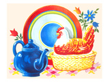 Chicken Casserole Dish and Teapot Kunstdruck