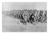 Marching Us Infantry in Texas as a Mascot Dog Is Near the Head of the Column Prints