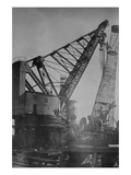 Giant Crane Lift Battleship Tower at Newport News Shipbuilding Prints