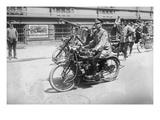 Police Mobile Motorcycle Machine Gun Poster
