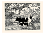 When They Went Scampering By, the Cow Just Stared at Them Prints by Luxor Price