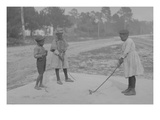 African American Children Pretend to Play Golf on Country Road Prints