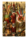 Native American Ornaments and Weapons Premium Giclee Print by F.W. Kuhnert