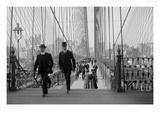 Pedestrians Cross the Brooklyn Bridge Print