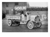 Grove Lime and Coal Company in Front of a Building Sign That Reads Gasoline Premium Giclee Print