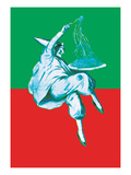 Pierrot and Pasta in Red and Green Poster af Sara Pierce