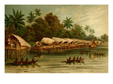 Village on Stilts - New Guinea Print by F.W. Kuhnert
