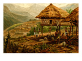 Philippine Village with Natives and Grass Guts on Stilts Poster by F.W. Kuhnert