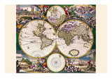 Stereographic Map of the World with Polar Projections Posters by Frederik de Wit