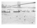Swimmers Race to Coney Island Just Past the Brooklyn Bridge Print