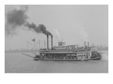 "Mississippi River Boat, the ""American"" Paddle Wheels Her Way Along the River Prints"