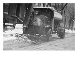 Tank Truck with Snow Plow Cleans the Streets Posters