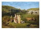 Young Women from the Village Affiches par Gustave Courbet