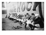 Philadelphia Americans Relax by Sitting Along the Center Field Fence at the Park Prints