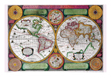 Stereographic World Map of the Eastern and Western Hemispheres Poster by Jean Boisseau