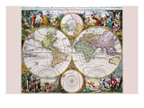 Stereographic Map of the World with Classical Illustration Prints by Gerard Valk